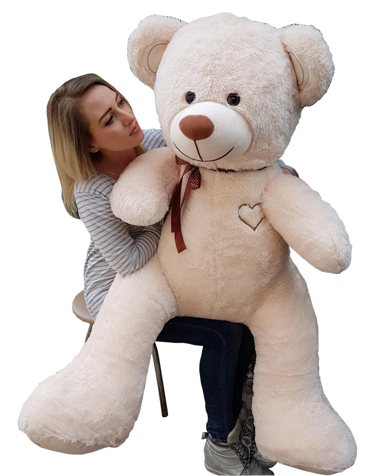 Teddybär Plüschbär Kuscheltier Stofftier Schmusebär Riesen Geschenkidee 160cm cremefarben